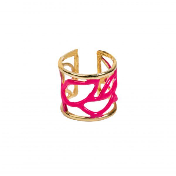 Anello - Enamel leaves ring fucsia