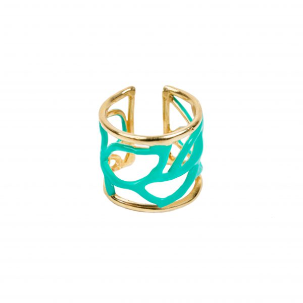 Anello - Enamel leaves ring verde tiffany