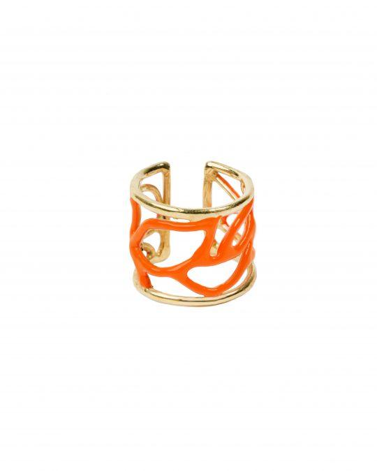 Anelli - Enamel Leaves Ring Arancio
