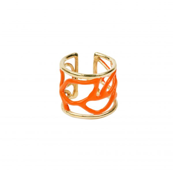 Anelli - Enamel Leaves Ring Arancio